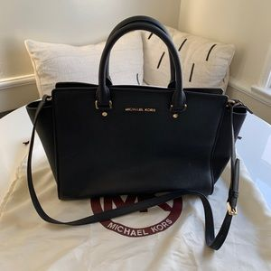 Michael Kors Medium Selma Leather Zip Top Satchel